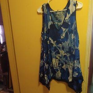 Blue floral tank top